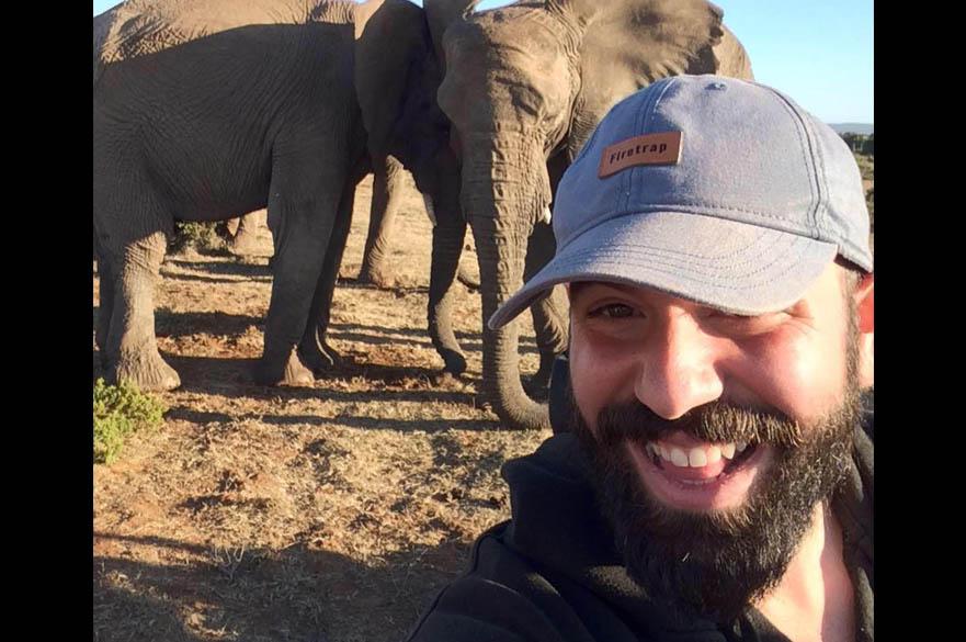 Staff member with elephants