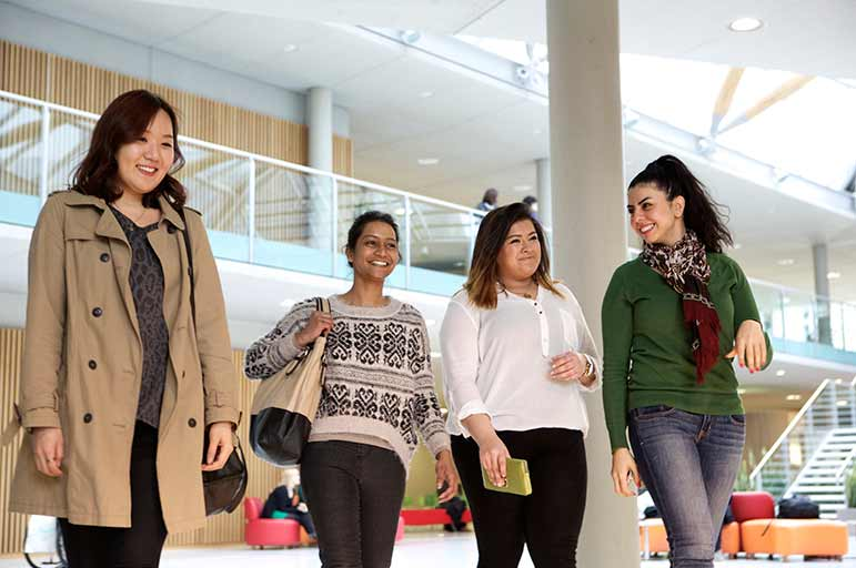 international students in the Newton and Arkwright Building