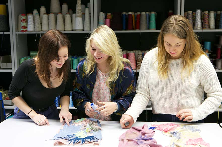 Textile Design students with scarves