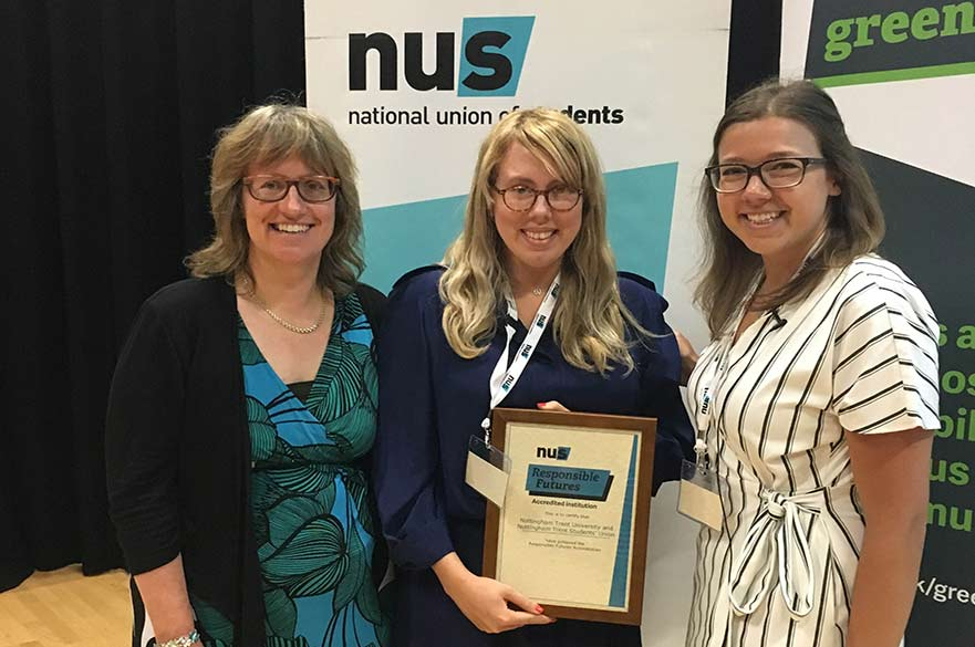 Dr Petra Molthan-Hill and Lina Erlandsson receive the accreditation