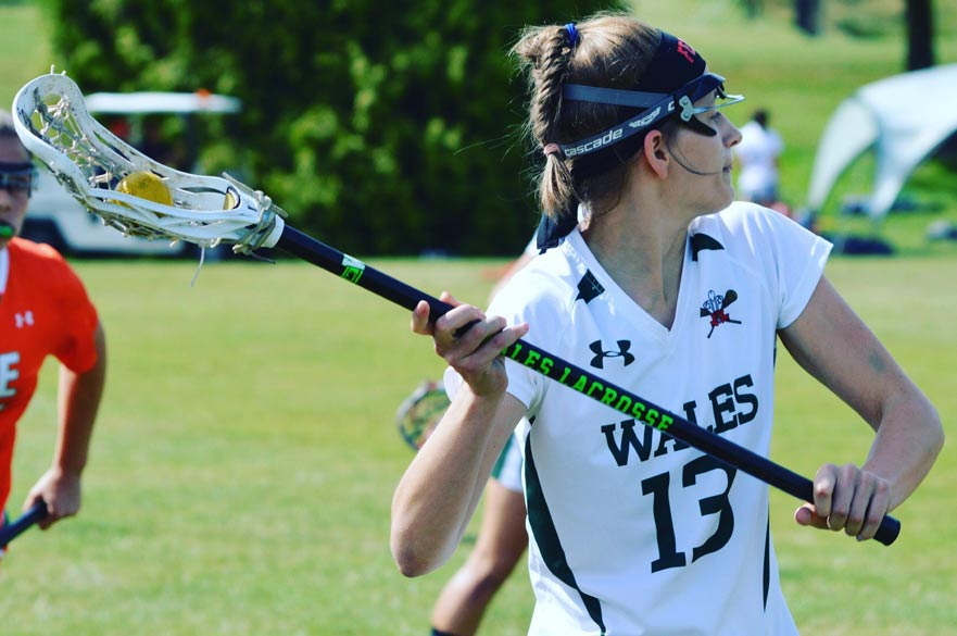 Gaby Sims playing Lacrosse for Wales