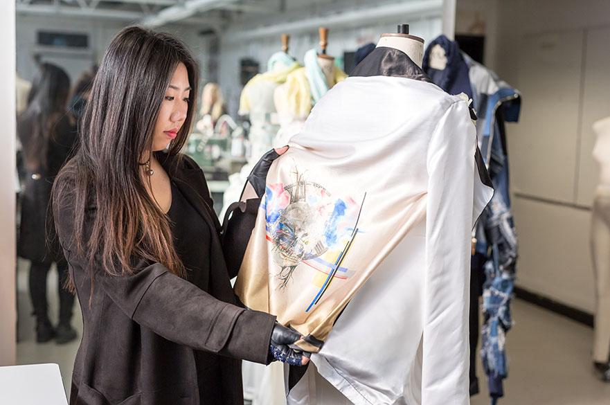 Victoria Zhao in the fashion design studios