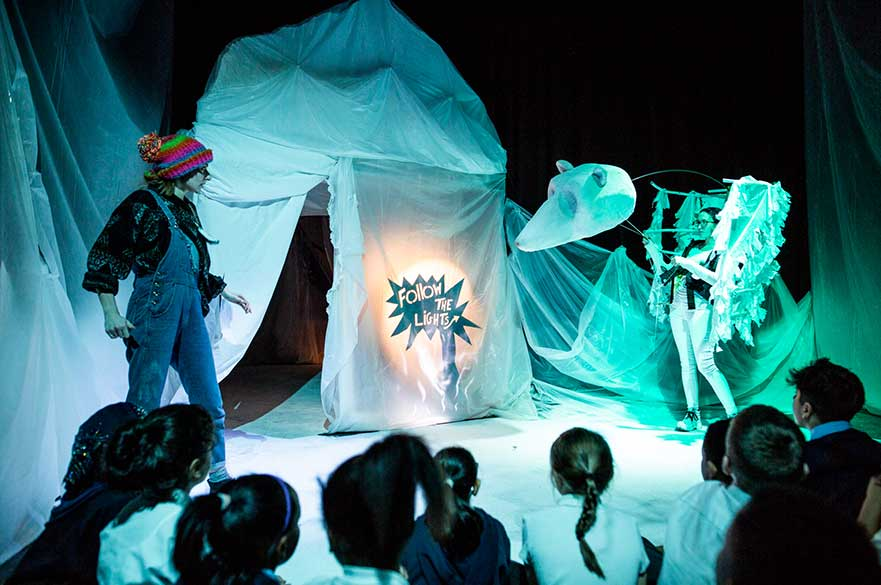 Impressive puppetry during the performance of Soonchild