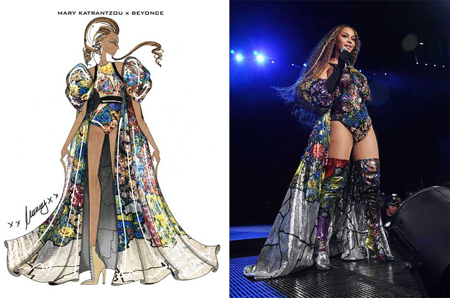 (L - R) Illustration by Mary Katrantzou, photo by Kevin Mazur for Getty Images