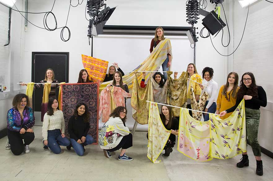 BA (Hons) Textile Design students with their SPINEXPO project work