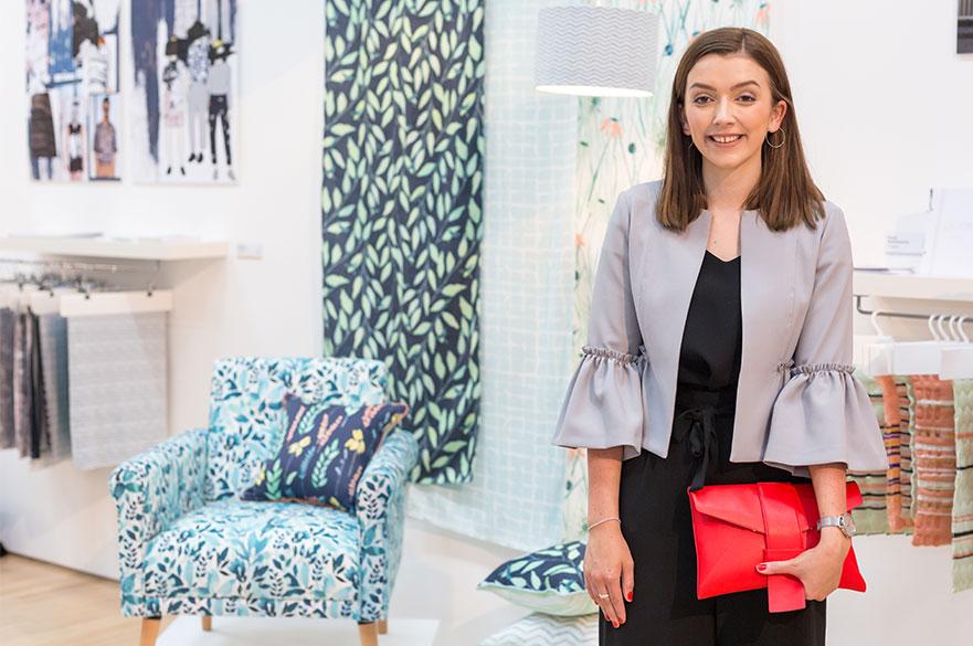 Ellie Kealey stood in the Bonington Gallery