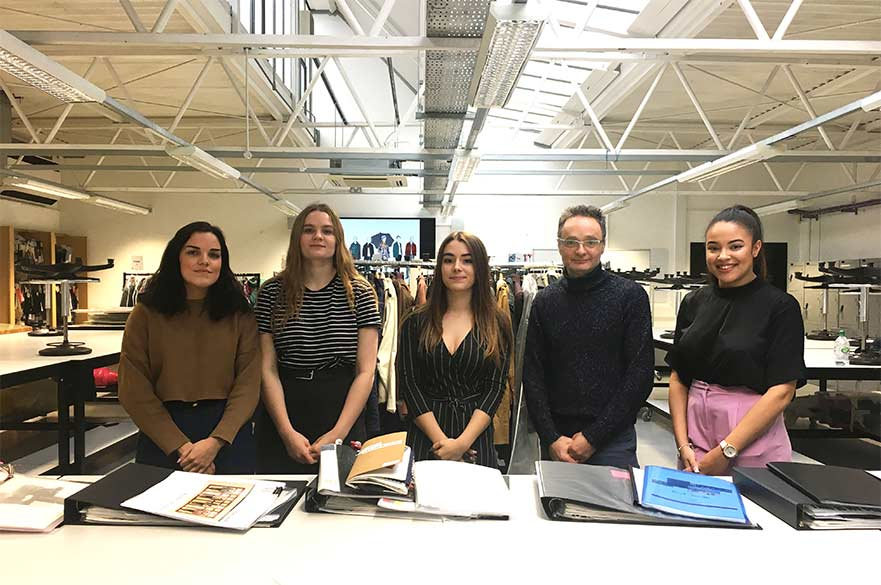 Amelia Hessian, Sian Drakard, Amber Osgood, Giuliano Martello and Robyn Pennant in the Fashion Design studios