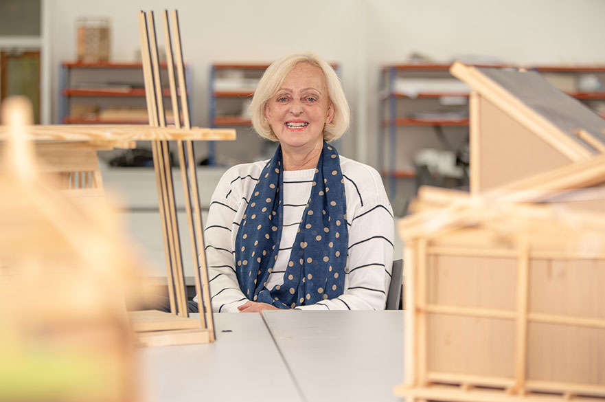 Michelle Pepin with building models