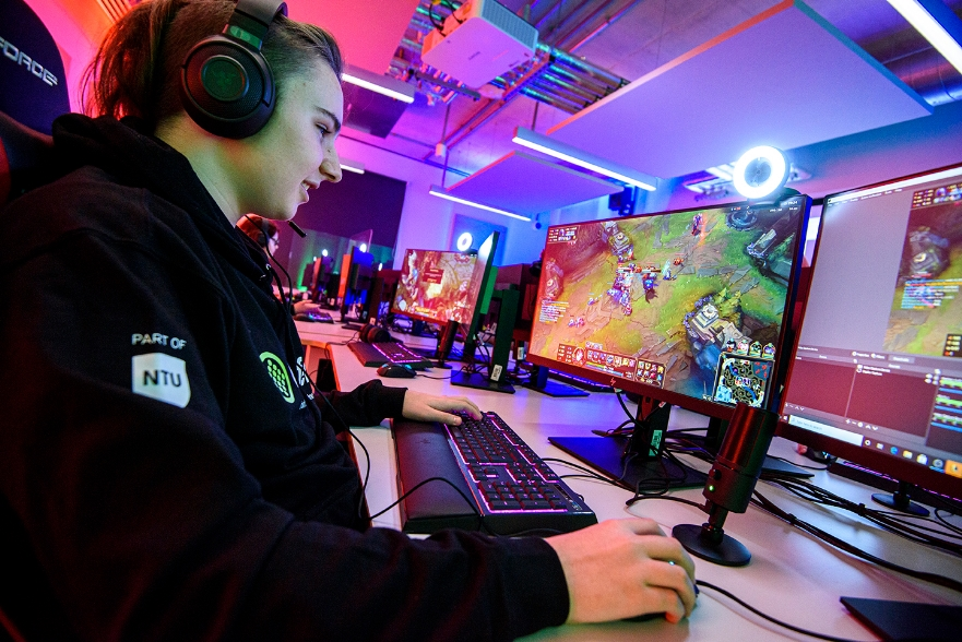 student in esports lab
