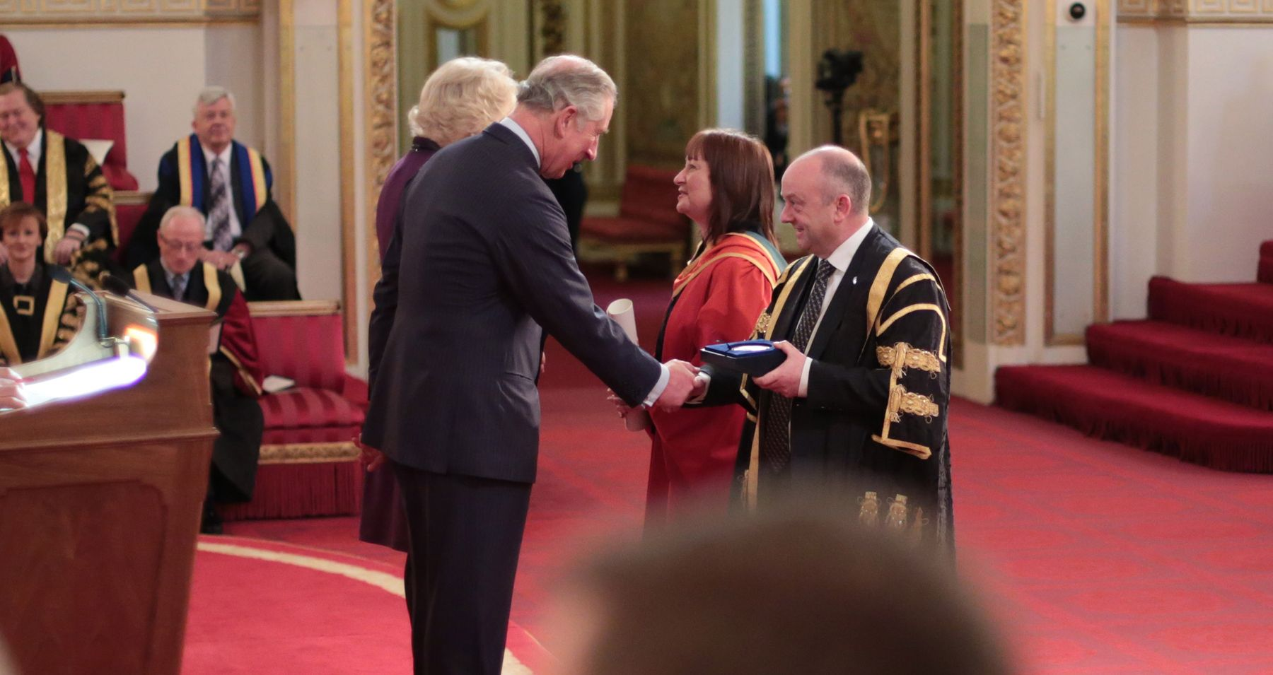 NTU Vice Chancellor receiving Queens Anniversary Prize