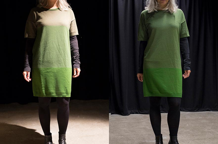 A dress under two different light sources