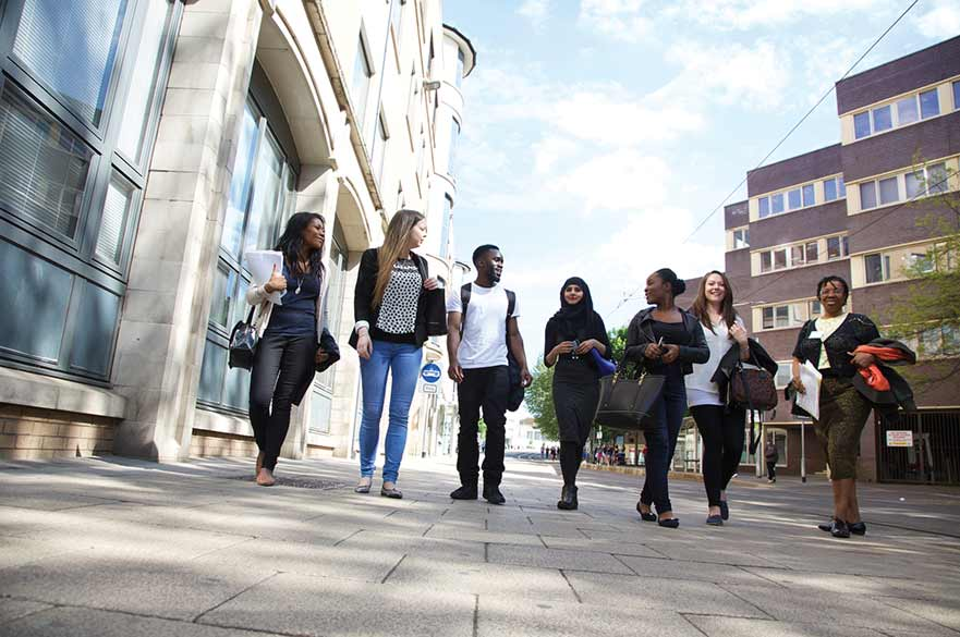 NTU students outside Boots library