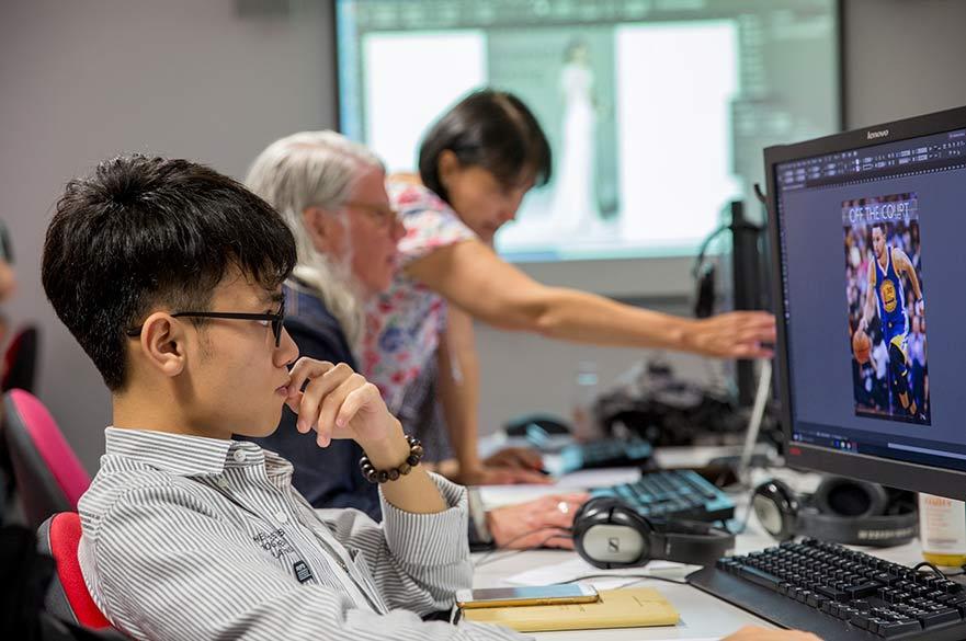 Student using desktop pc