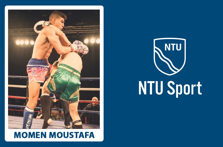 NTU Student Momen Moustafa in action in Thai boxing