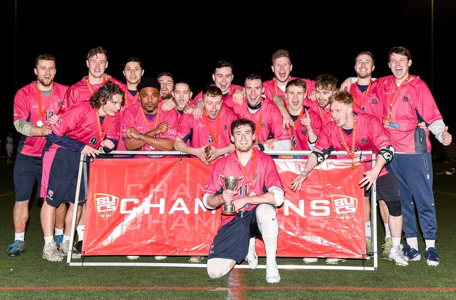 Team photo of NTU Men's Lacrosse celebrating winning BUCS Championship