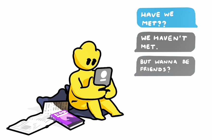 Cartoon animation of text messages