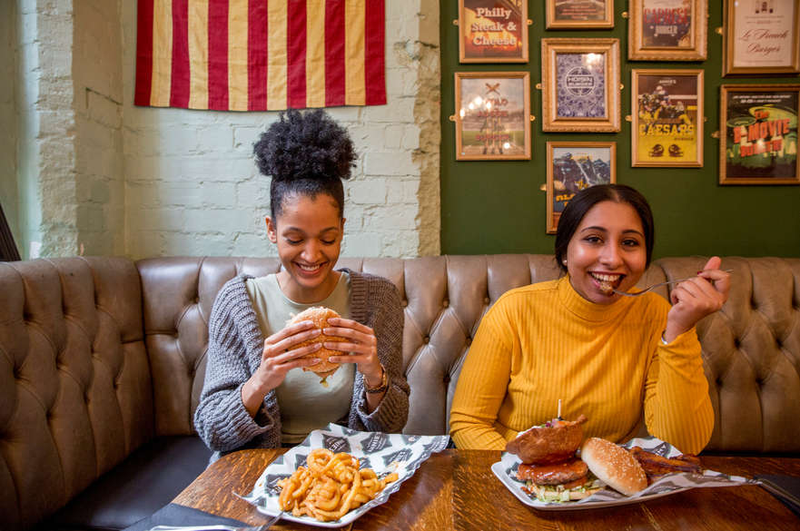Students in Annie's Burger Shack