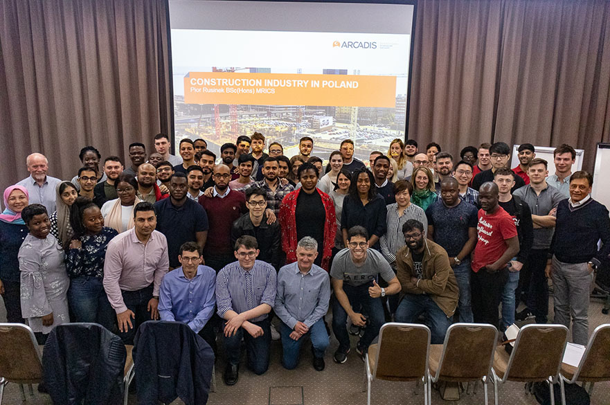 MSc Construction Management and MSc Quantity Surveying students from Nottingham Trent University visiting Arcadis in Poland