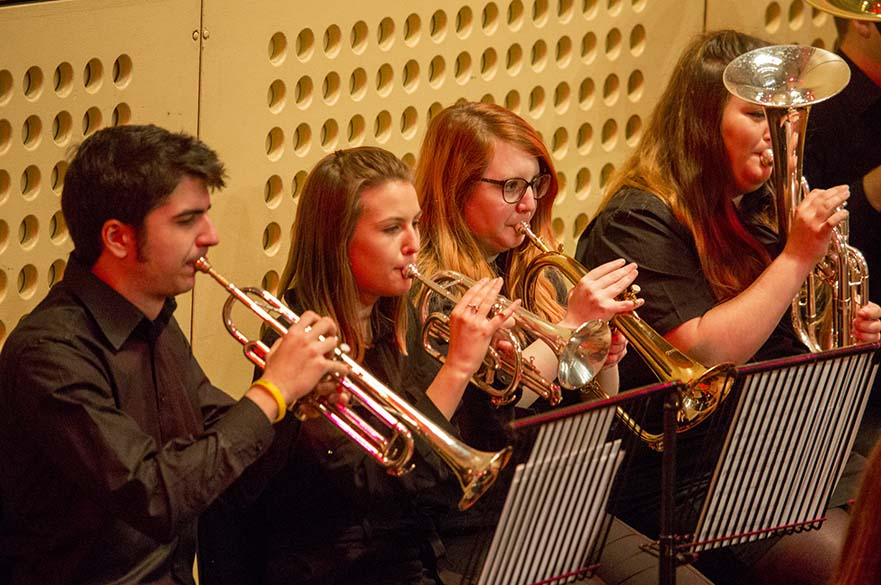 Students performing in brass band