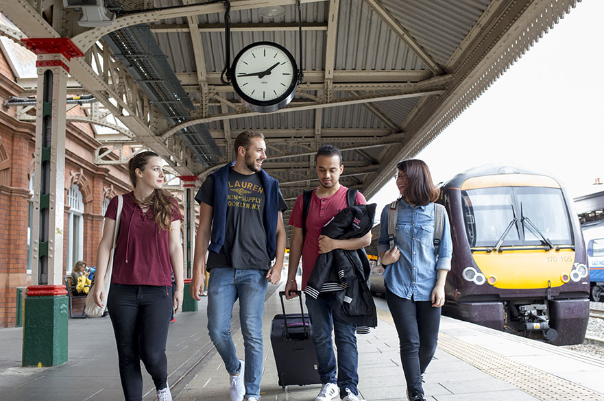 Students at Nottingham train station