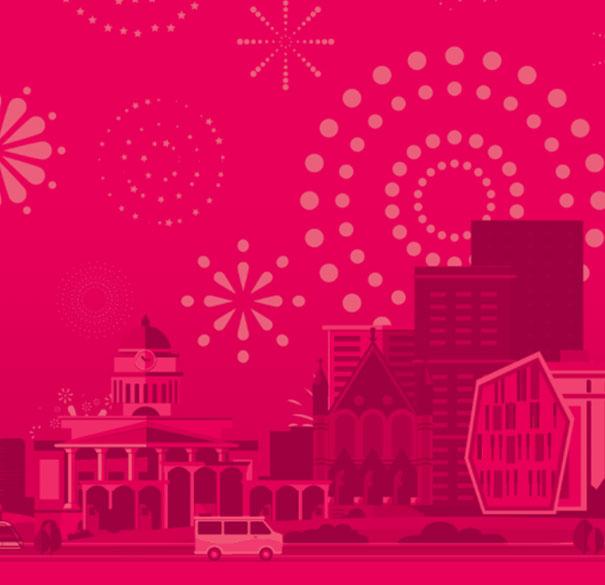 Artwork featuring Nottingham landmarks.