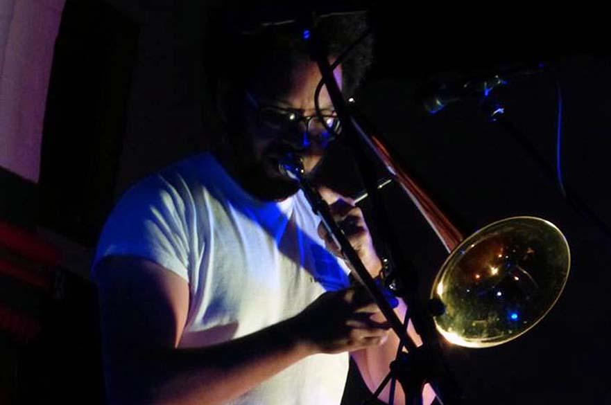 KT Reeder playing trombone