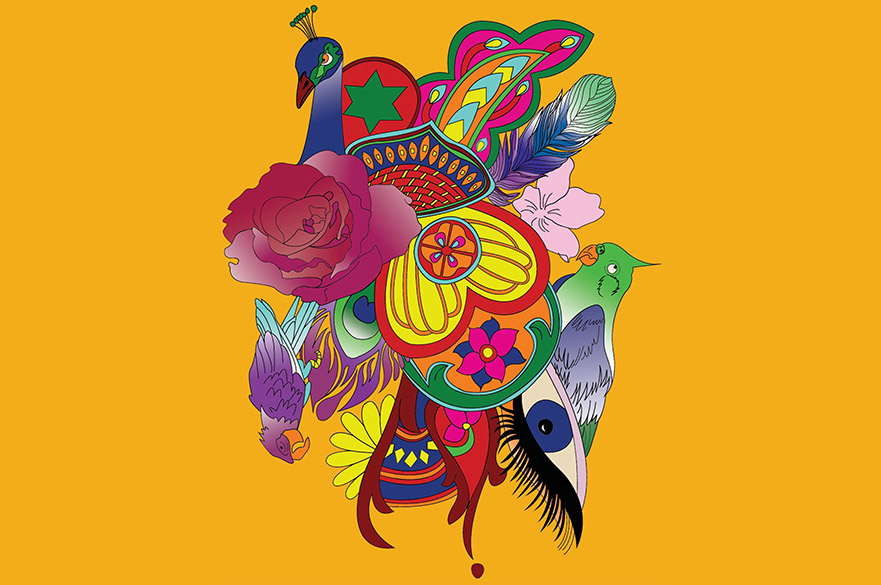 Colourful Illustration of birds and flowers