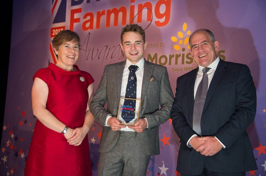 Benjamin Theaker received the award at a ceremony in Birmingham (Image: Farmers Guardian)