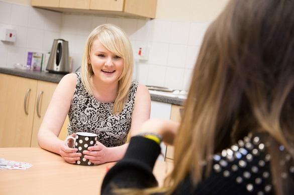 Nottingham Trent students in residence kitchen