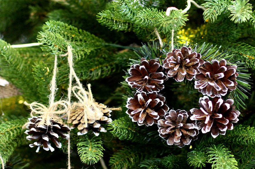 Christmas wreath made from fir cones