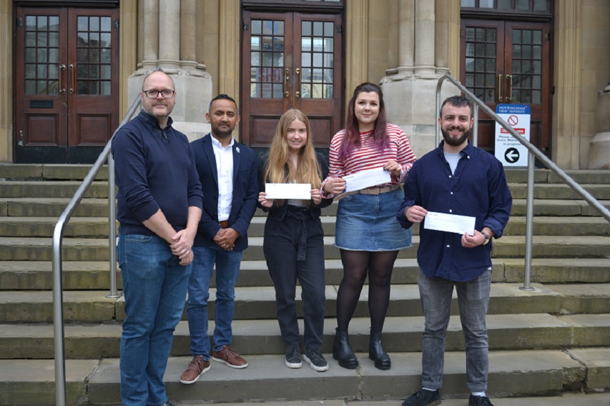 Students Reece Thorner, Emily Hagger and Jade Barber pictured with Nilesh Mistry from CPW and Gavin Richards Head of Architecture at NTU