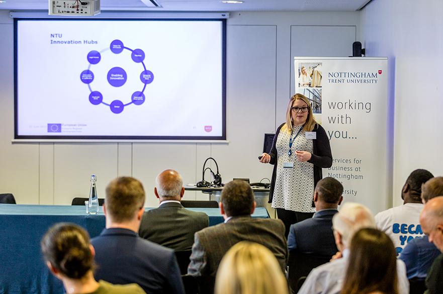 Sasha Hallas speaking at the Santander SME networking event