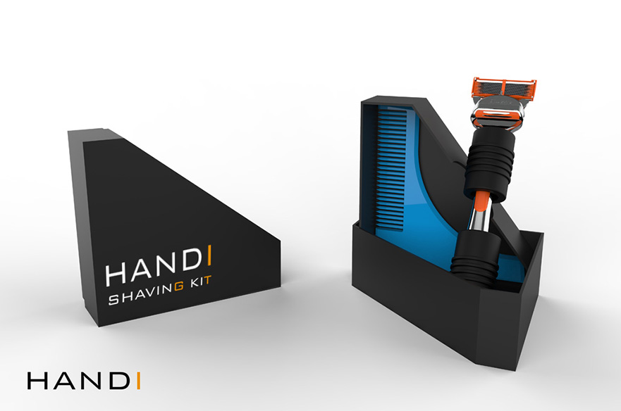 Handi Shaving Kit - work by Craig Martin. A shaving kit designed to aid people suffering from dyspraxia.
