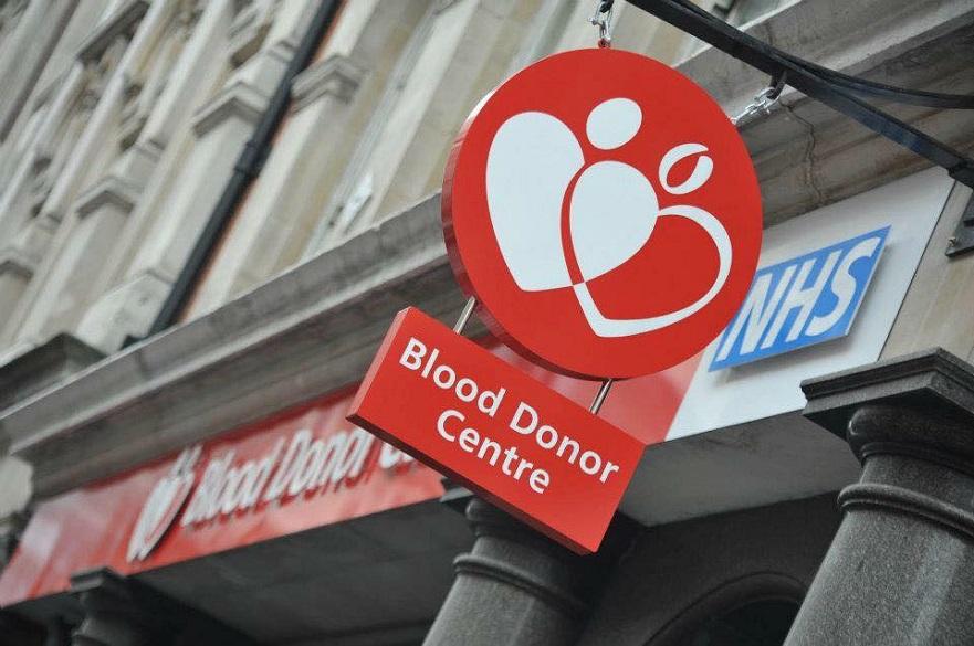 A Blood Donation Centre sign