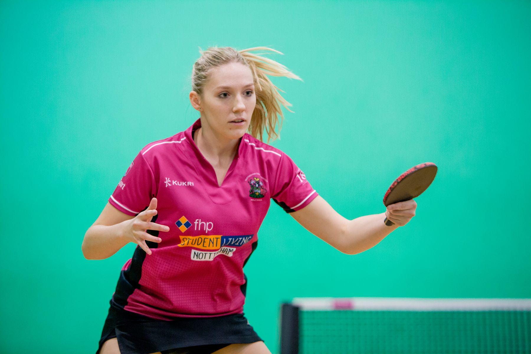 NTU Women's Table Tennis Player Hits a return shot