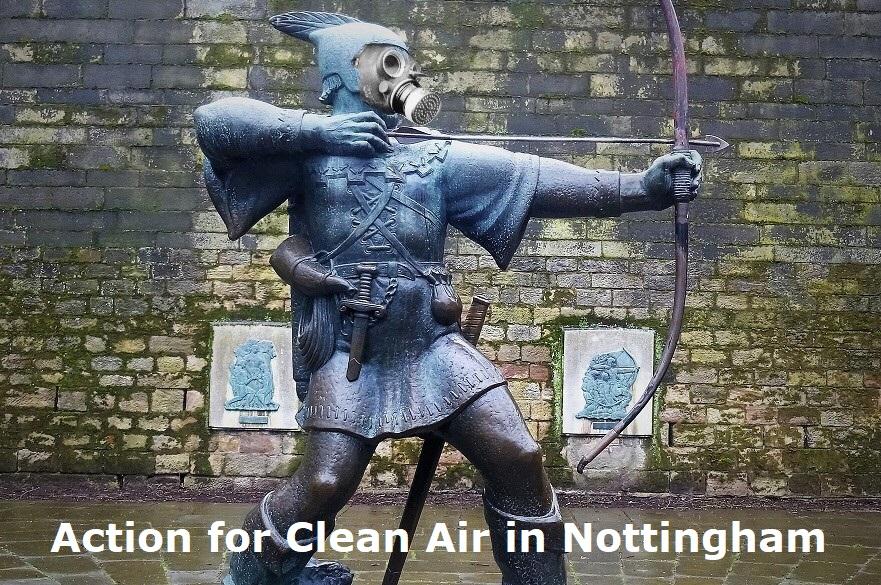 Robin hood statue wearing a gas mask