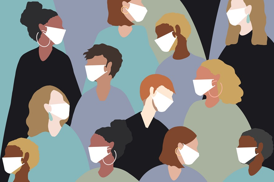 Graphic of people in masks