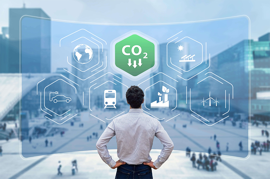 A digital dashboard tracking Co2 emissions across the workplace