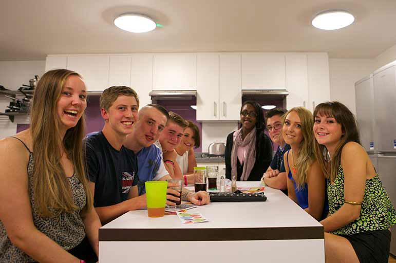 Nottingham Trent students in kitchen