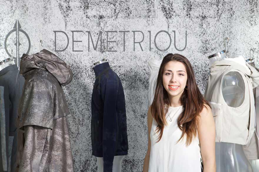 Georgia with her designs at 2016 Degree Show