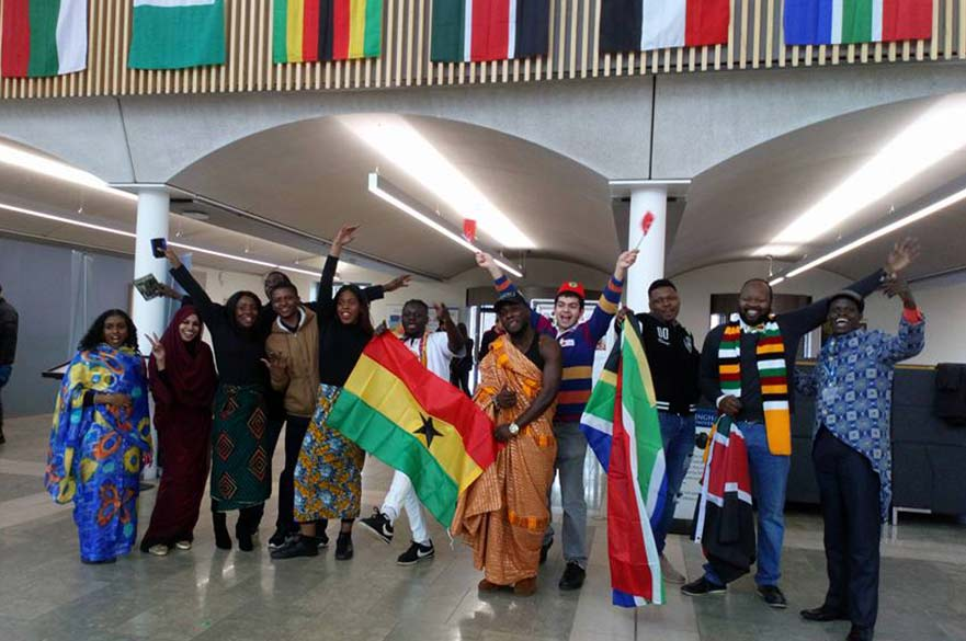 Students from different countries celebrating Global Week at Clifton Campus