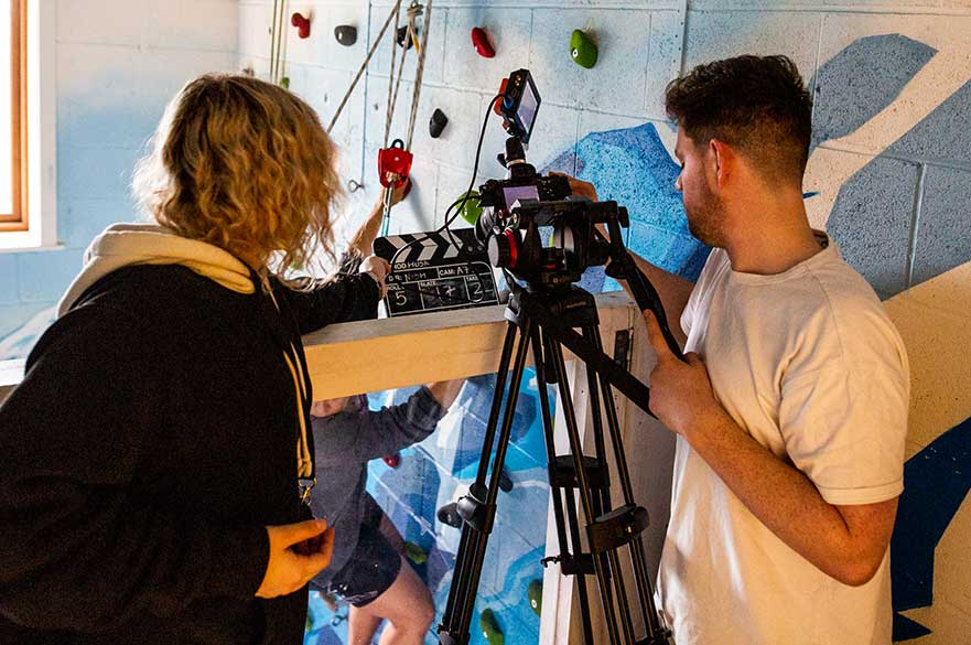 BA (Hons) Filmmaking students filming on location