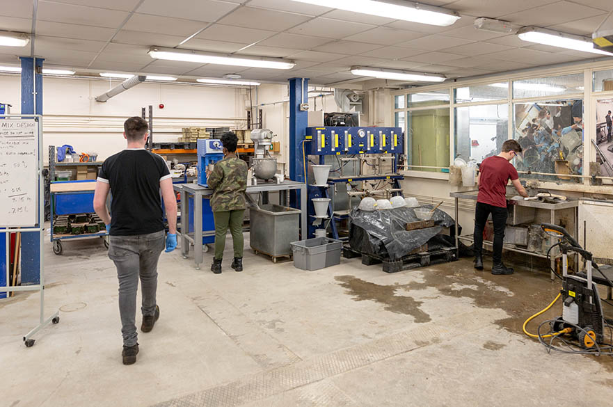 Students working in the concrete laboratory, Maudslay workshops