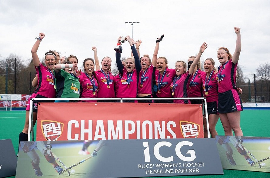 NTU Women's Hockey team celebrate winning BUCS Trophy