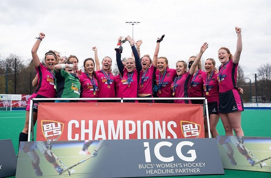 NTU Women's Hockey team celebrate winning BUCS Trophy
