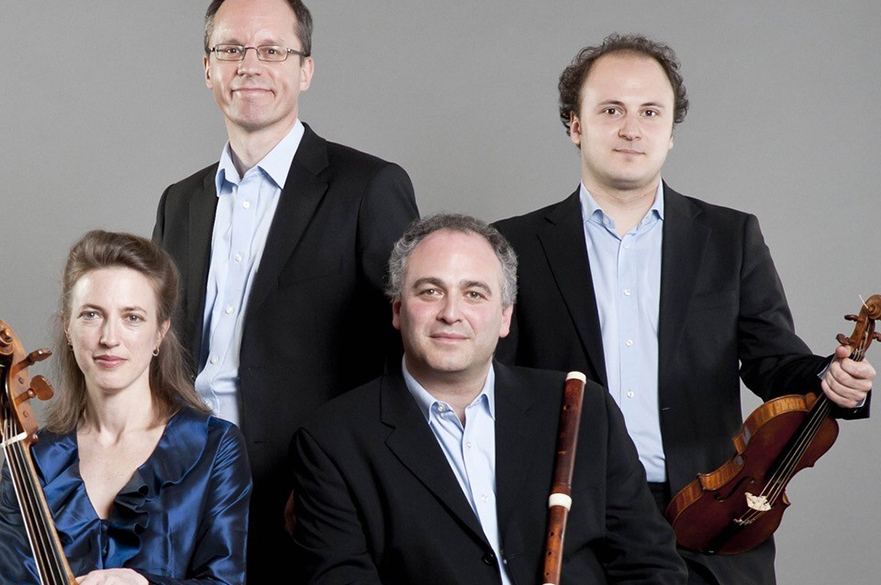 Four members of Florilegium with their instruments.