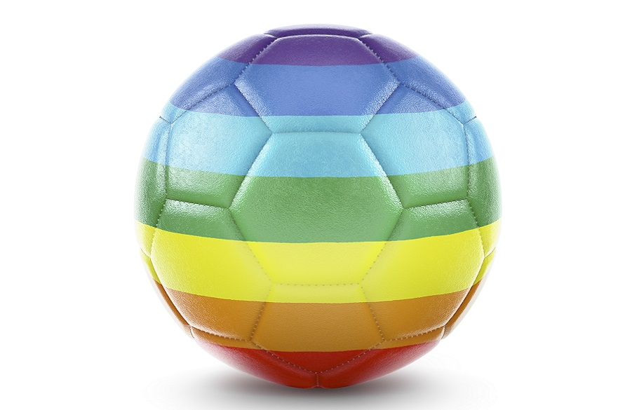 Ball with pride flag colours