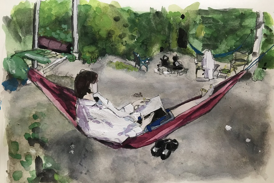 'Making notes for Design and Nature'. Watercolour on paper by Mathilda Tham