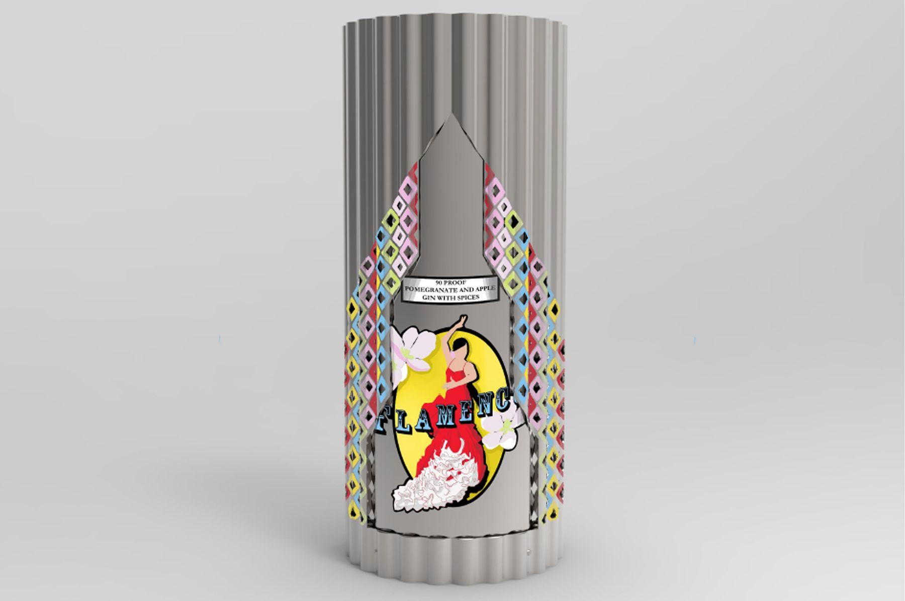 CAD render of a gin bottle design