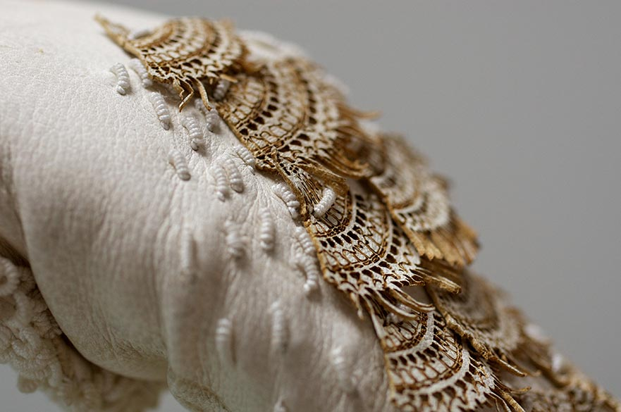Work by Joy Butress; garment with lace details